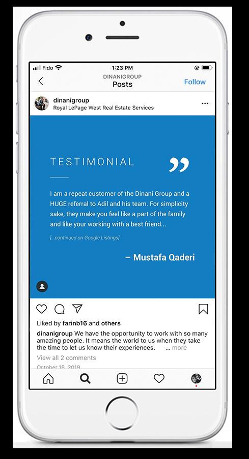 Dinani Group –Testimonial –Social Media Mock