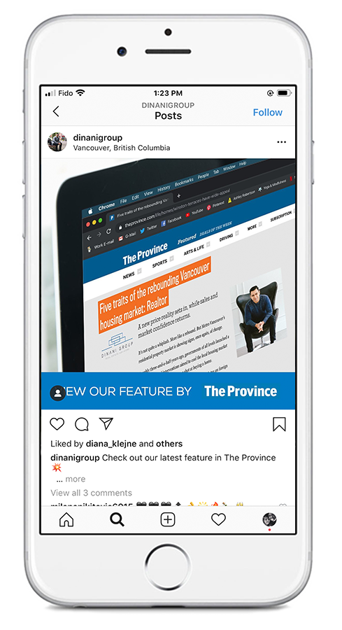 Dinani Group - The Province Article Feature –Social Media