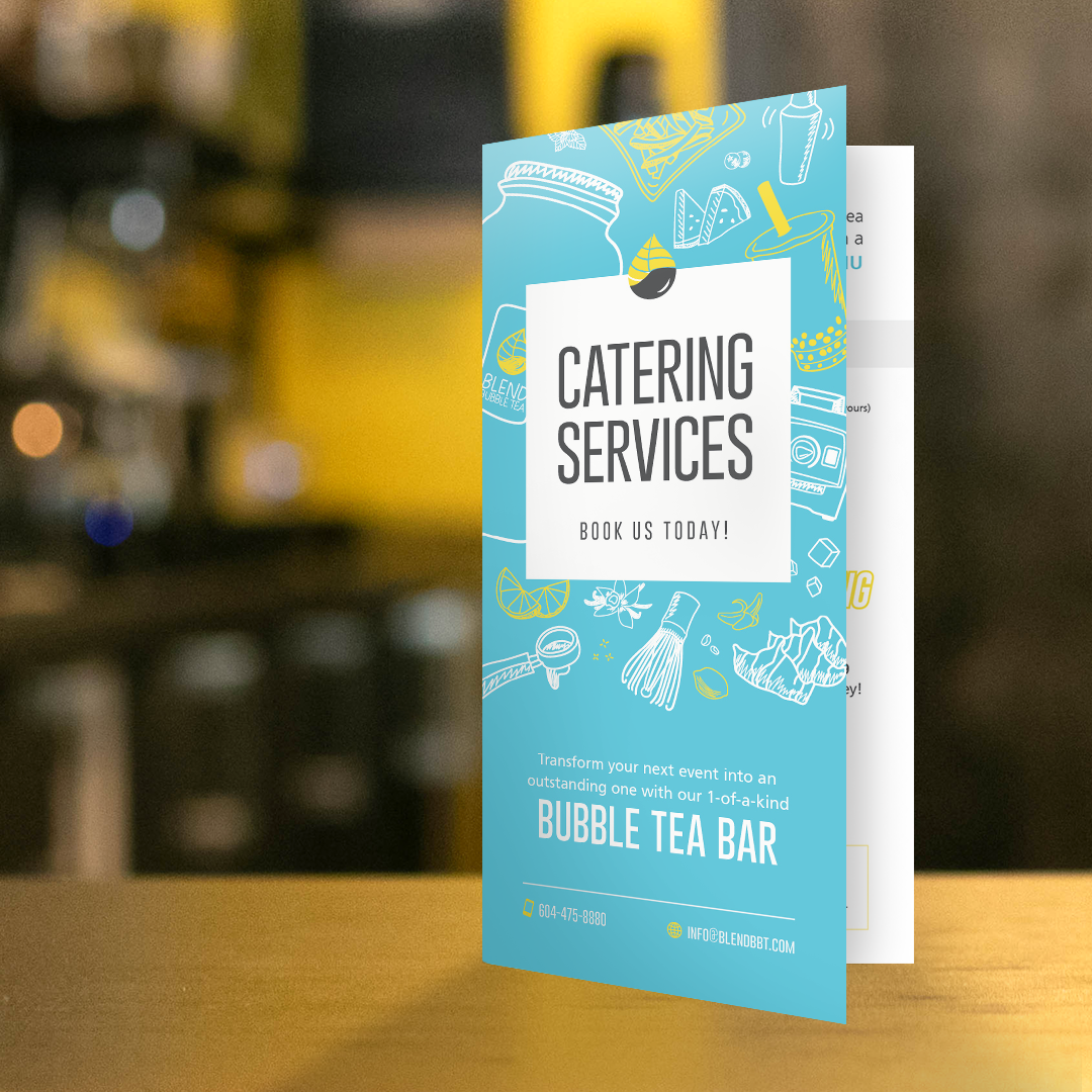 Catering Services Bi-Fold Brochure Design –Blend Bubble Tea