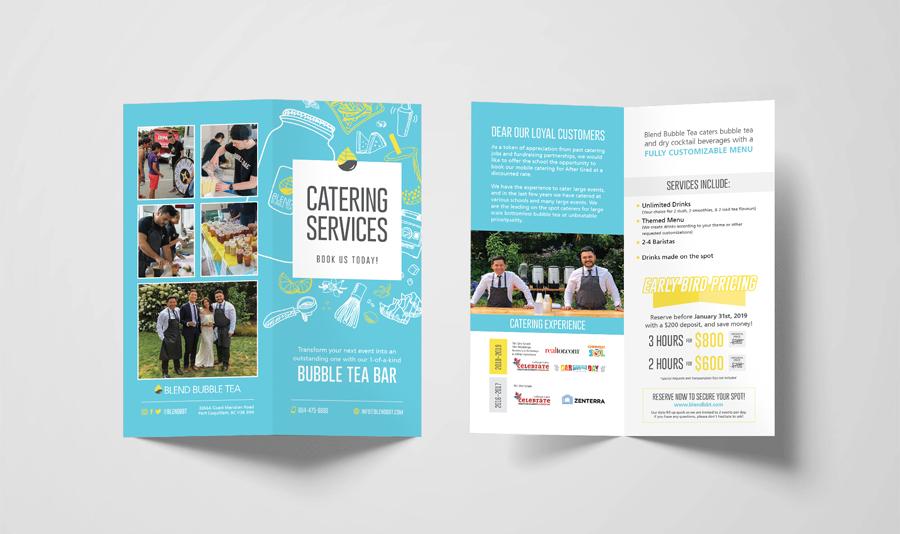 Catering Services Bi-Fold Brochure Design (Open: Front & Back Sides) –Blend Bubble Tea