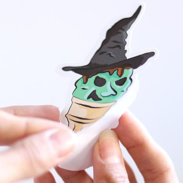 Ice Cream Witch (Mint) Sticker | Peeling off Backing | Ash Robertson Design