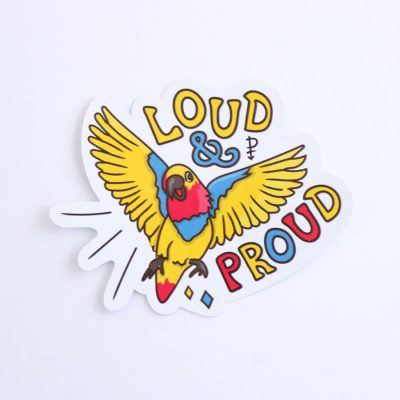 Loud & Proud (Pansexual) Sticker | Birdseye View (Top) | Ash Robertson Design