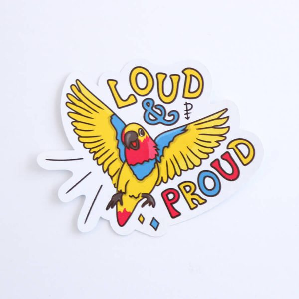 Loud & Proud (Pansexual) Sticker | Birdseye View (Top) | Ash Robertson Design
