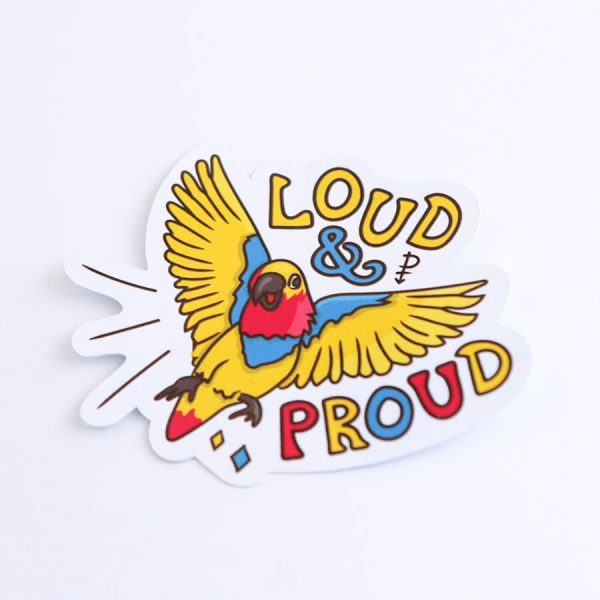 Loud & Proud (Pansexual) Sticker | Side Angle | Ash Robertson Design