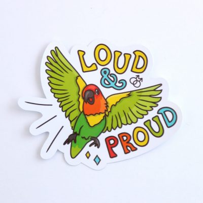 Loud & Proud (Gay) Sticker | Birdseye View (Top) | Ash Robertson Design