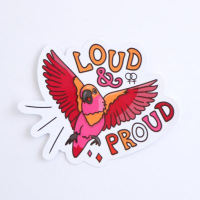 Loud & Proud (Lesbian) Sticker | Birdseye View (Top) | Ash Robertson Design