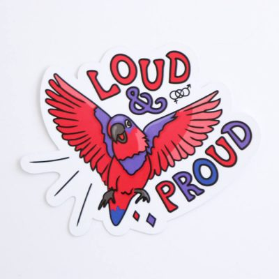 Loud & Proud (Bisexual) Sticker | Birdseye View (Top) | Ash Robertson Design
