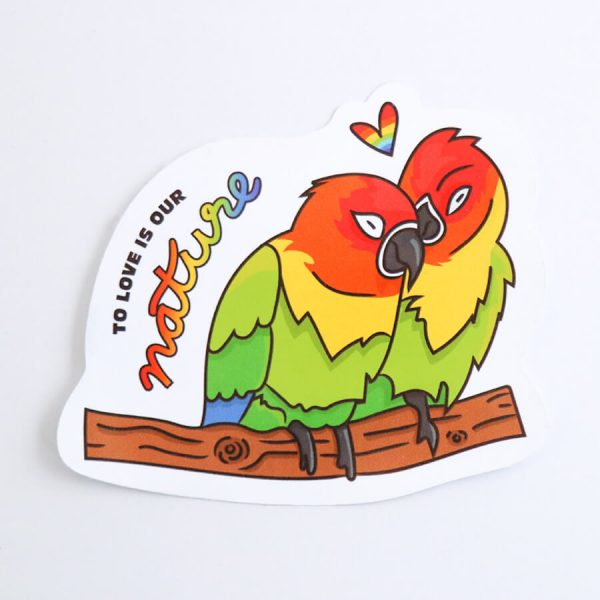 To Love is Our Nature Sticker | Birdseye View (Top) | Ash Robertson Design | Love Birds LGBTQ+ Pride