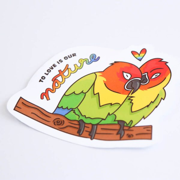 To Love is Our Nature Sticker   Side Angle   Ash Robertson Design   Love Birds LGBTQ+ Pride