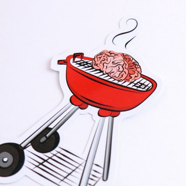 BBQ Brains Sticker | Zoomed In Side Angle | Ash Robertson Design | Sinful Summer