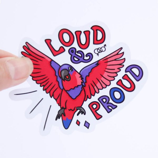 Loud & Proud (Bisexual) Sticker | Holding with fingers | Ash Robertson Design