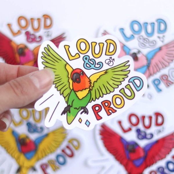 Loud & Proud (Gay) Sticker | Birdseye View (Top) Amongst the other Pride Stickers | Ash Robertson Design