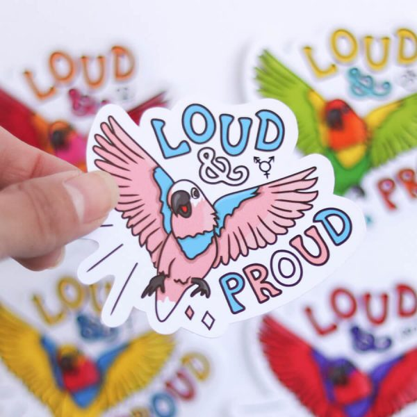 Loud & Proud (Transgender) Sticker | Birdseye View (Top) Amongst the other Pride Stickers | Ash Robertson Design