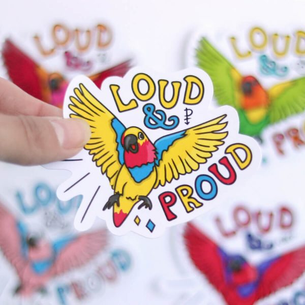 Loud & Proud (Pansexual) Sticker | Birdseye View (Top) Amongst the other Pride Stickers | Ash Robertson Design