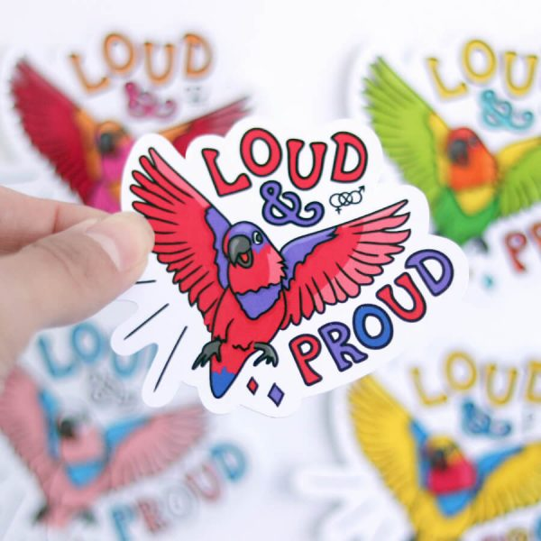 Loud & Proud (Bisexual) Sticker | Birdseye View (Top) Amongst the other Pride Stickers | Ash Robertson Design