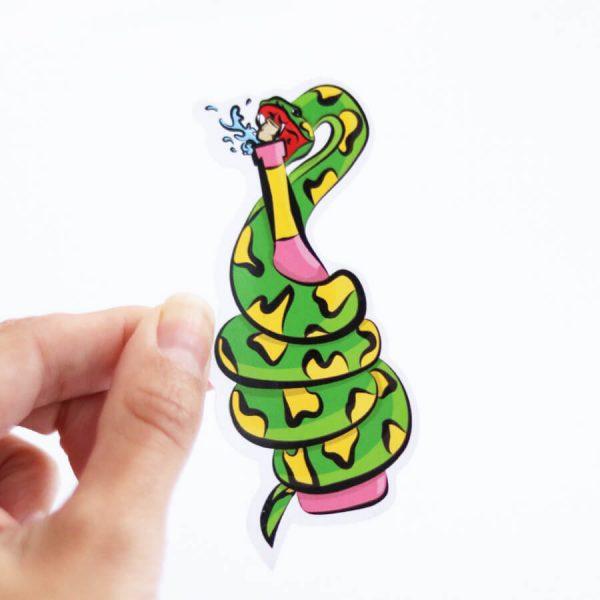 Slurpent Sticker | Holding with fingers | Ash Robertson Design | Sinful Summer