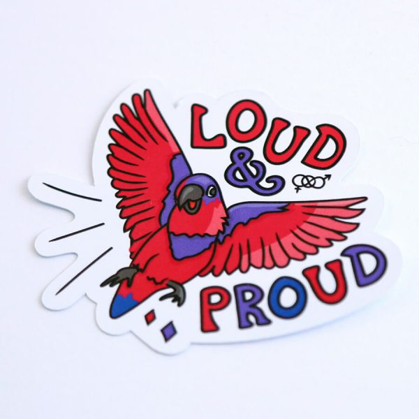 Loud & Proud (Bisexual) Sticker   Side Angle   Ash Robertson Design