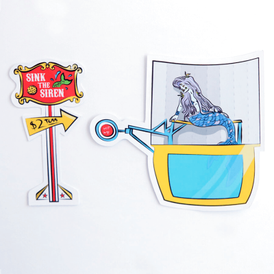 Sink the Siren + Mermaid Dunk Tank Sticker | Birdseye View (Top) | Ash Robertson Design