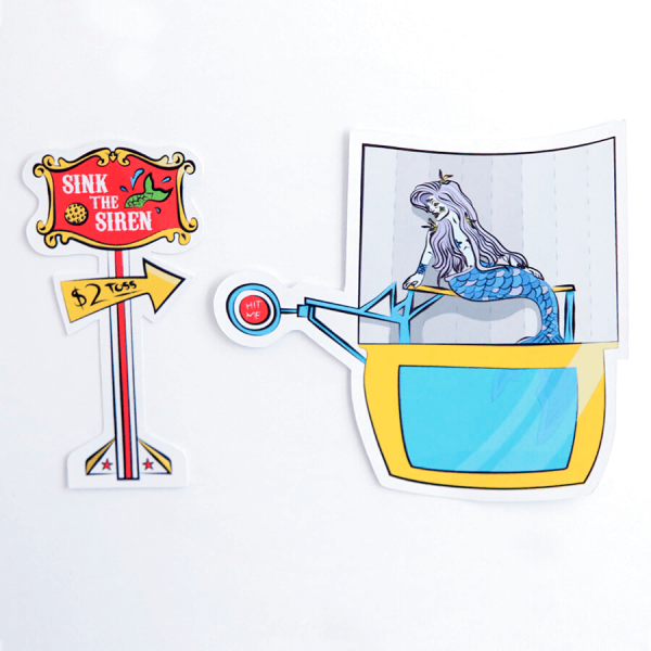 Sink the Siren + Mermaid Dunk Tank Sticker | Birdseye View (Top) | Ash Robertson Design