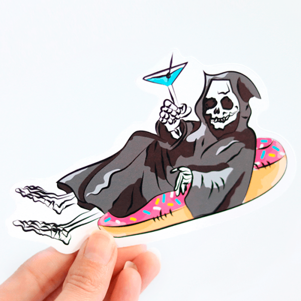 Grim Reaper on a Pool Floaty Sticker (Large) | Holding with Fingers | Ash Robertson Design