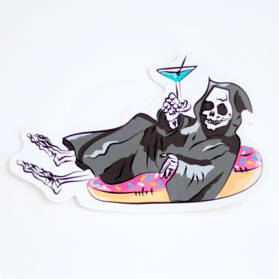 Grim Reaper on a Pool Floaty Sticker (Large) | Birdseye View (Top Angle) | Ash Robertson Design