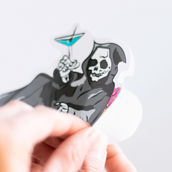 Grim Reaper on a Pool Floaty Sticker (Large) | Peeling off Backing| Ash Robertson Design
