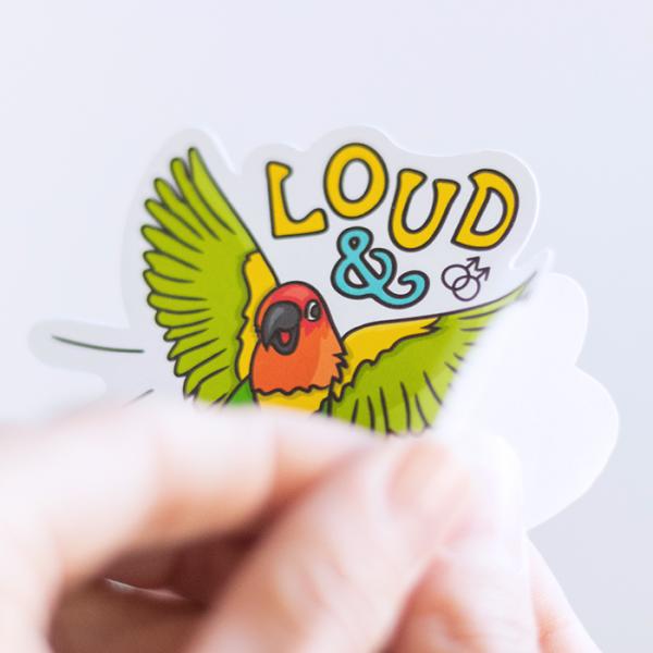 Loud & Proud (Gay) Sticker | Peeling off Backing | Ash Robertson Design