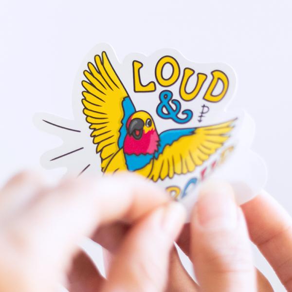 Loud & Proud (Pansexual) Sticker | Peeling off Backing | Ash Robertson Design