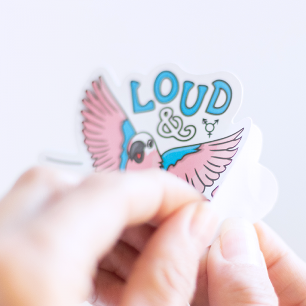 Loud & Proud (Transgender) Sticker | Peeling off Backing | Ash Robertson Design