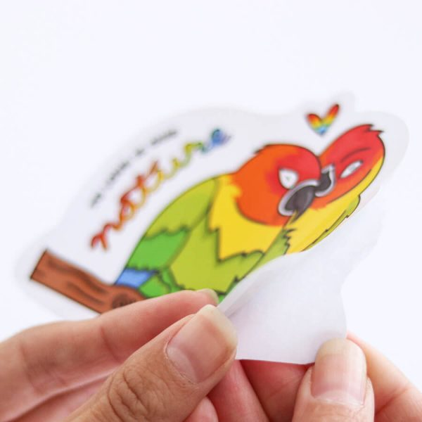 To Love is Our Nature Sticker  Peeling off Backing   Ash Robertson Design   Love Birds LGBTQ+ Pride