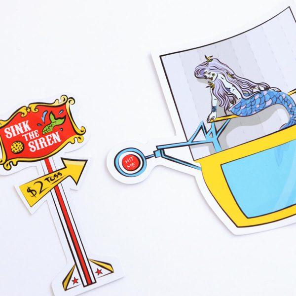 Sink the Siren + Mermaid Dunk Tank Sticker | Side Angle | Ash Robertson Design