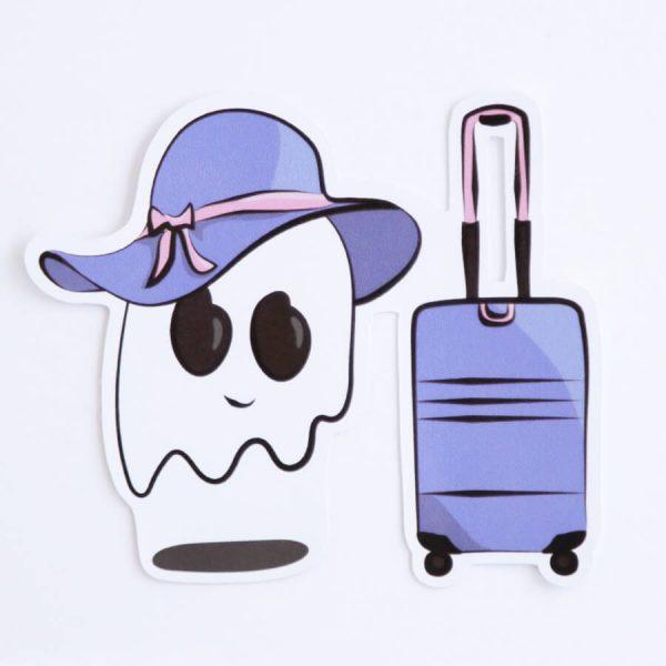 Ghost Suitcase Sticker (Lavender, Purple) | Birdseye View (Top) | Ash Robertson Design