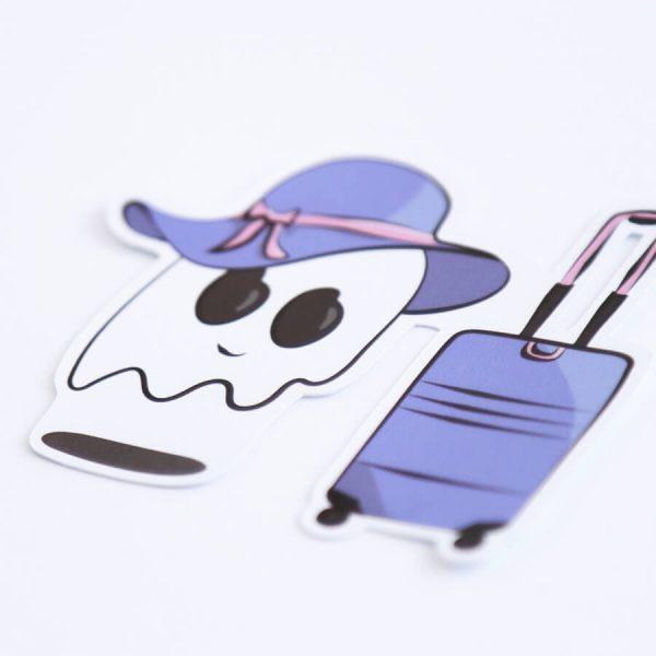 Ghost Suitcase Sticker (Lavender, Purple) | Side Angle | Ash Robertson Design