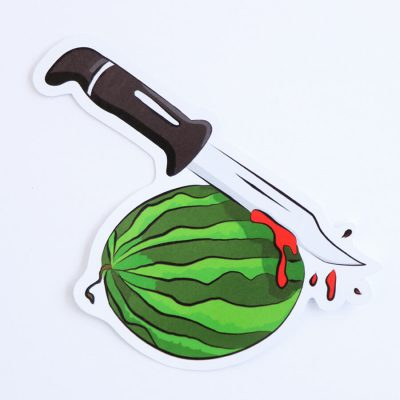 Watermelon Slasher Sticker | Birdseye View (Top) | Ash Robertson Design