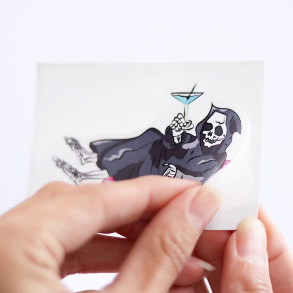 Grim Reaper on a Pool Floaty Sticker (Small) | Peeling off Backing | Ash Robertson Design