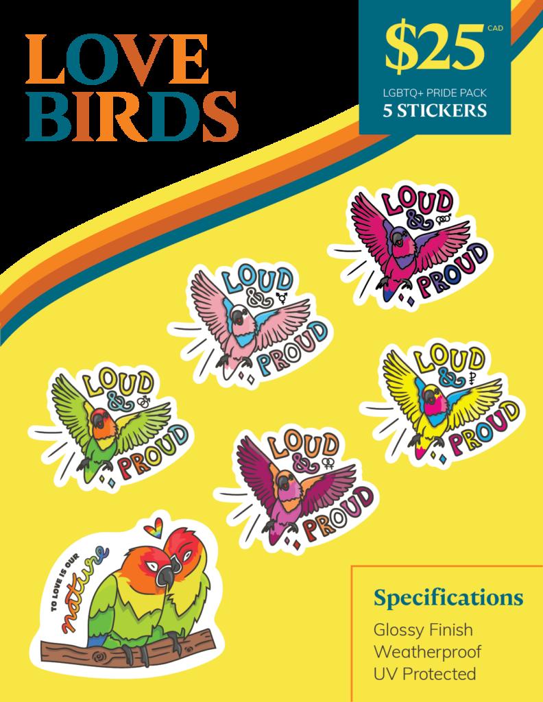 Love Birds - LGBTQ+ Pride Pack | Port Coquitlam Retail Sticker Pack | Ash Robertson Design