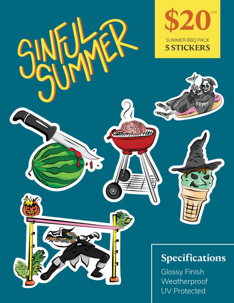 Sinful Summer - Summer BBQ Pack | Port Coquitlam Retail Sticker Pack | Ash Robertson Design