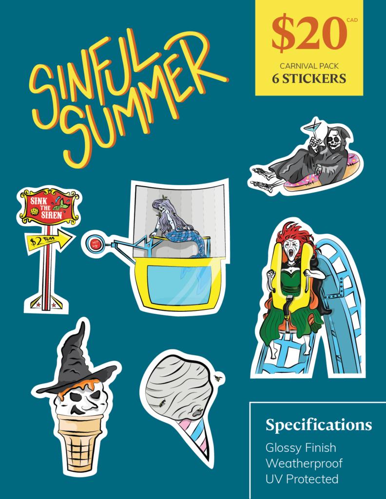 Sinful Summer - Carnival Pack | Port Coquitlam Retail Sticker Pack | Ash Robertson Design