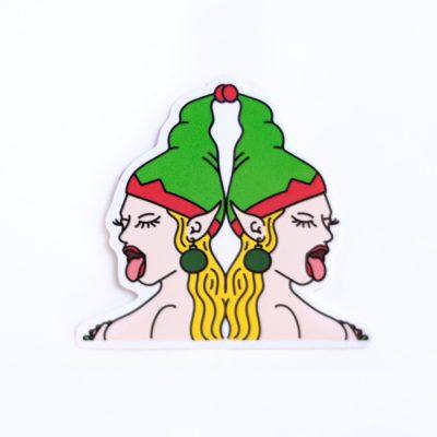 Sexy Elves (Blonde) Sticker - Top Angle - Ash Robertson Design