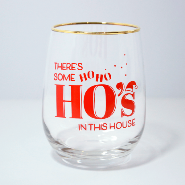 HoHoHos Stemless Wine Glass | Front Side Ash Robertson Design