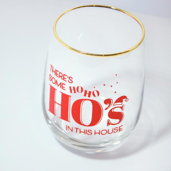 HoHoHos Stemless Wine Glass | Side Angle | Ash Robertson Design