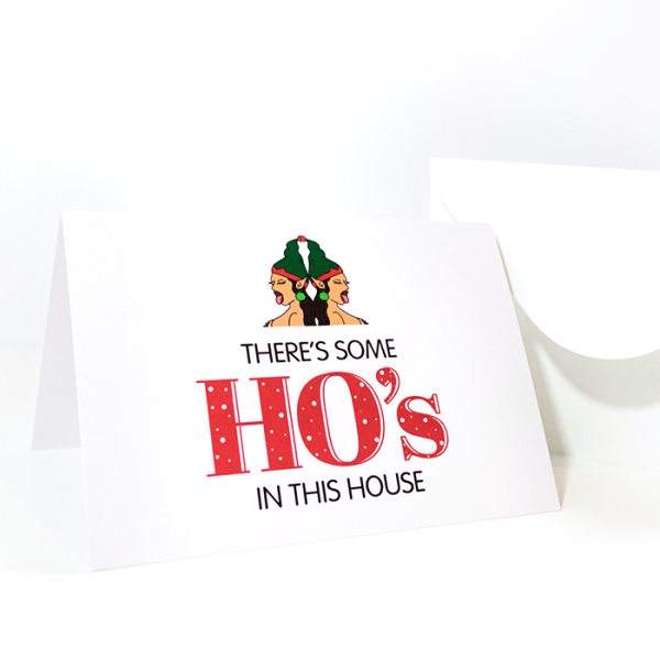 There's Some Ho's in This House | Side Angle of Christmas Card & Envelope | Ash Robertson Design