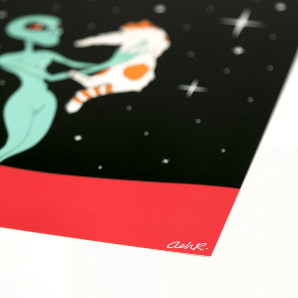 Love at First Contact | Alien Holding Cat | Bottom Close-Up | Ash Robertson Design