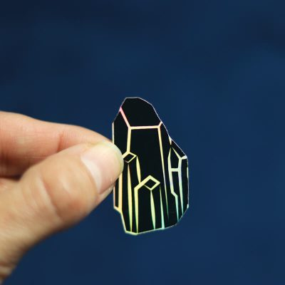 Black Crystal Sticker (Holographic) | Holding with Fingers | Ash Robertson Design