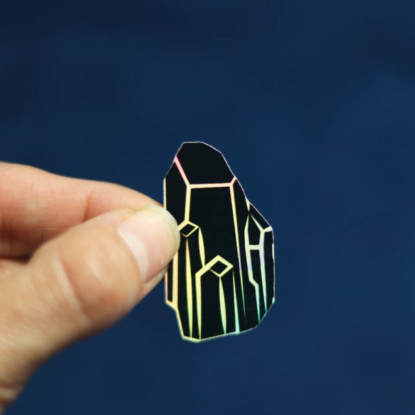 Black Crystal Sticker (Holographic)   Holding with Fingers   Ash Robertson Design