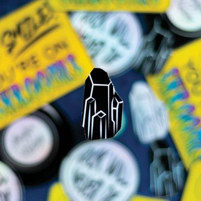 Black Crystal Sticker (Holographic) | Patterned Background | Ash Robertson Design