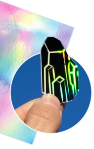 Holographic Vinyl Sticker Paper with Black Crystal