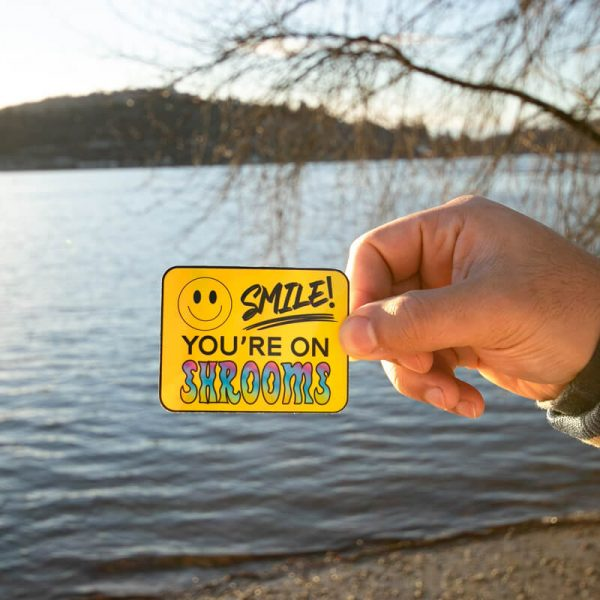 Smile! You're On Shrooms Sticker (Holographic) | Holding at Beach | Ash Robertson Design