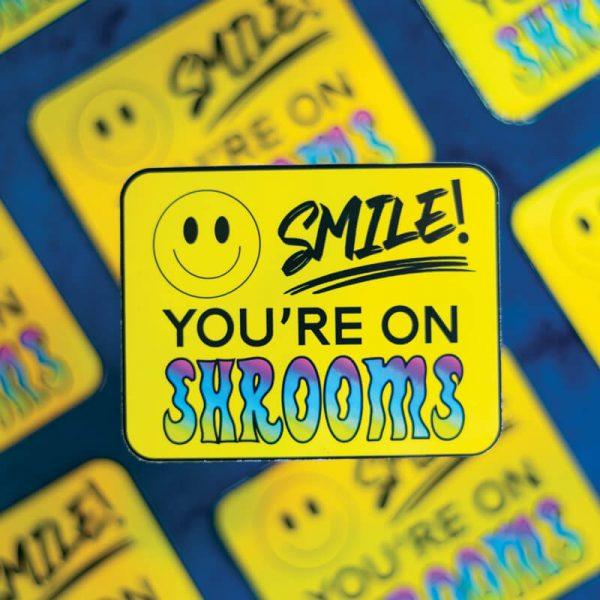 Smile! You're On Shrooms Sticker (Holographic) | Sticker Patterned | Ash Robertson Design