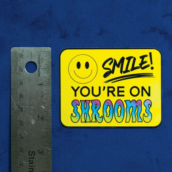 Smile! You're On Shrooms Sticker (Holographic) | Vertical Measurement | Ash Robertson Design